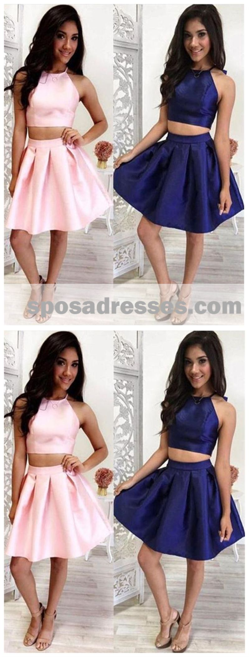 Two pieces halter cheap homecoming dresses under cm