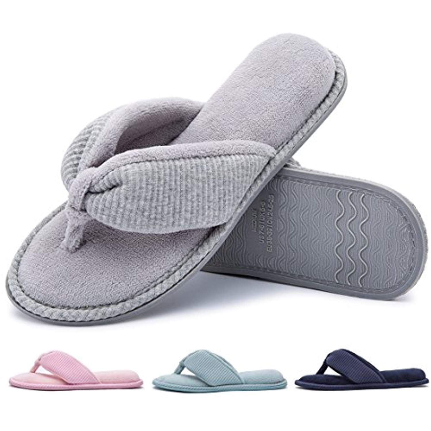 0339fe1c6 Ladies  Memory Foam Flip Flop Slippers - House Spa Indoor Thong Sandals --  Learn more by visiting the image link. (This is an affiliate link)