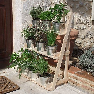 3 Tier Wooden Flower Stand Herb Plant Pot Shelves Garden Patio