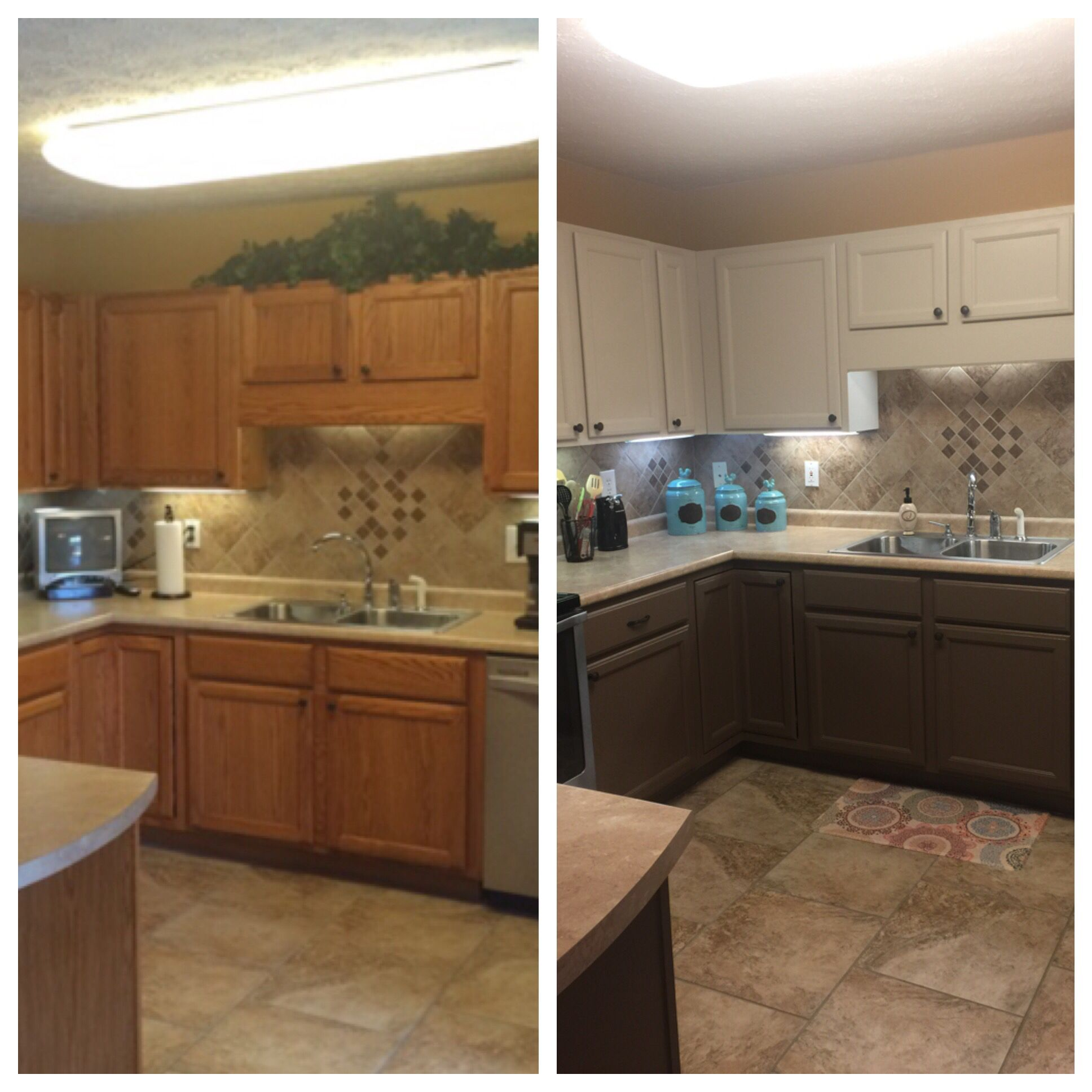 Basket beige sherwin williams - Accessible Beige Painted Honey Oak Cabinets Before And After Valspar Humboldt Earth On Bottom Sherwin Williams