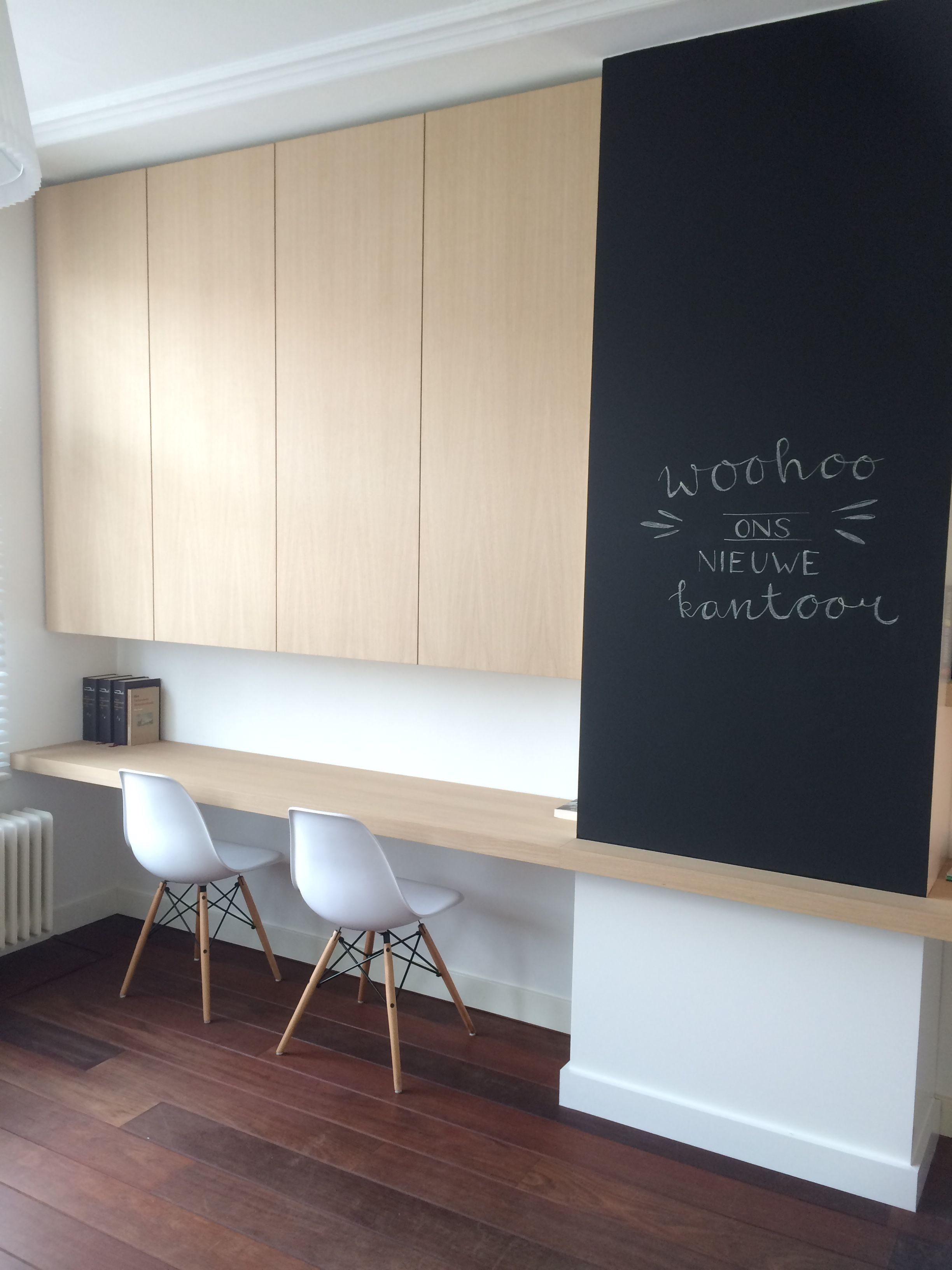 De Groot Interieur Realisatie.Werkplek Hoge Opbergkasten Groot Werkblad En Ladeblok