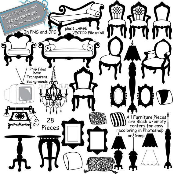 Furniture Clip Art French Furniture Clip Art Etsy Clip Art Silhouette Frames Art Clipart