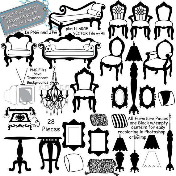 Furniture Clip Art French Furniture Clip Art Etsy Clip Art Silhouette Frames Art Clipart