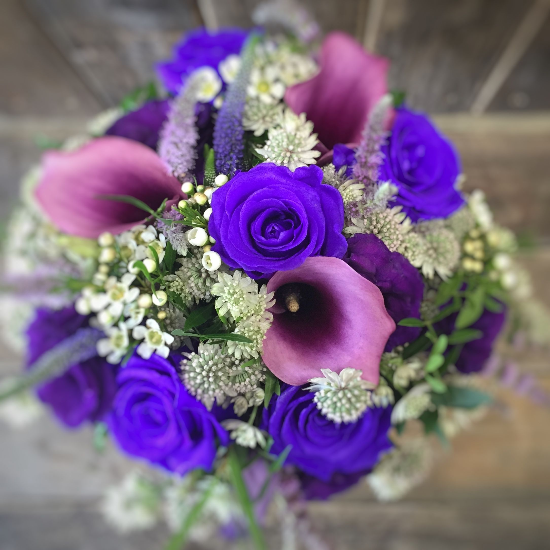 A Florist With Family at it's Heart #bridalbouquetpurple Purple hand tied bridal bouquet #bridalbouquetpurple