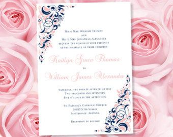 Image Result For Navy Blue And Blush Pink Wedding Invites