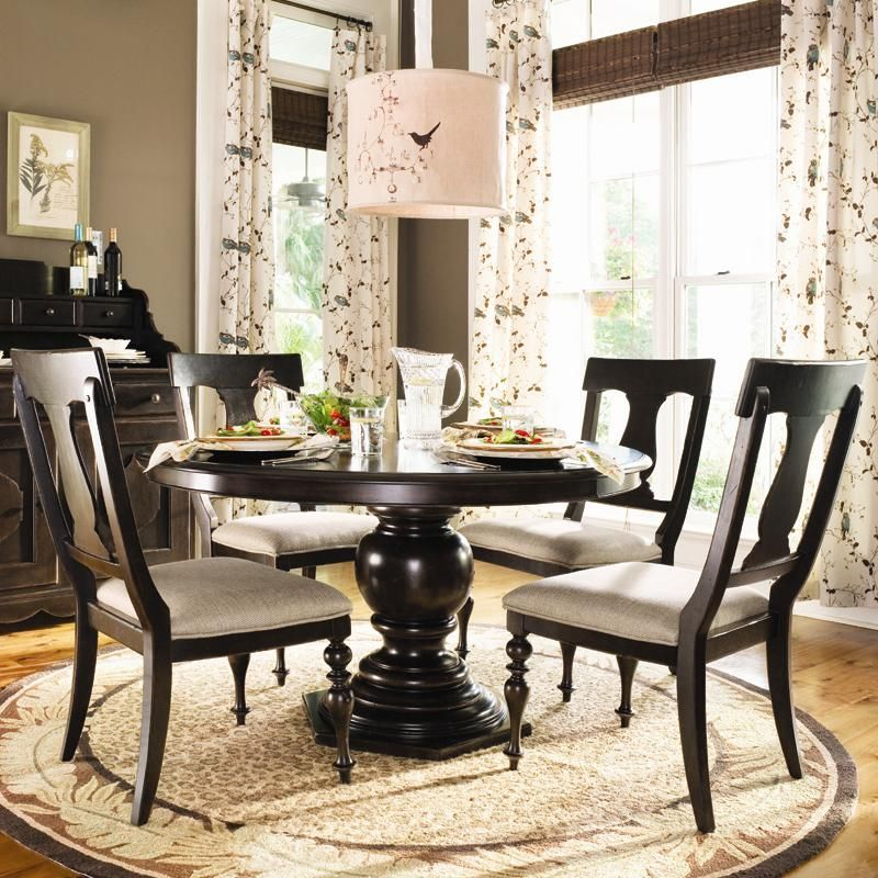 Paula Deen Home Round Dining Table w/ 4 Splat Back Chairs by Paula ...