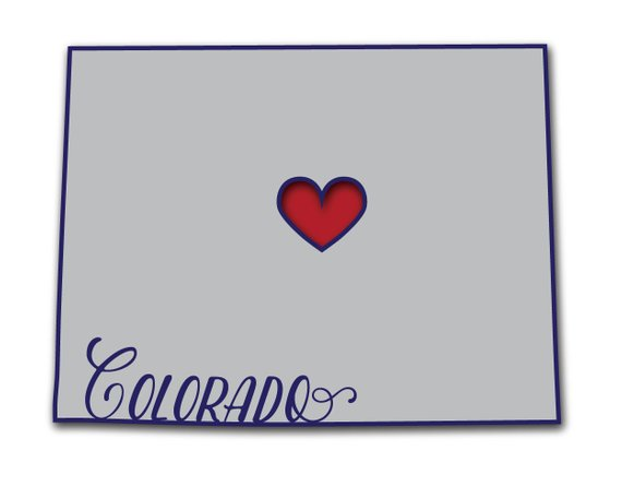 Colorado State Love Heart Silhouette Word Art Typography Wall