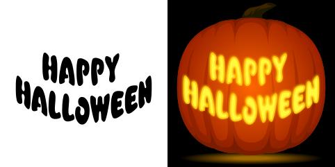 Free Happy Halloween Pumpkin Stencil Halloween Pumpkin Stencils Easy Pumpkin Carving Easy Pumpkin Carving Patterns