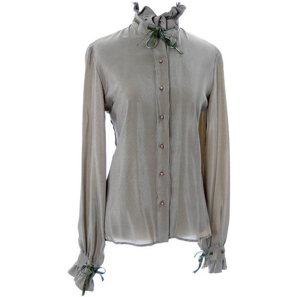 5c073372061c9 Preowned Valentino Boutique Vintage Blouse Green Taupe Silk Velvet...  ( 295) ❤ liked on Polyvore featuring tops