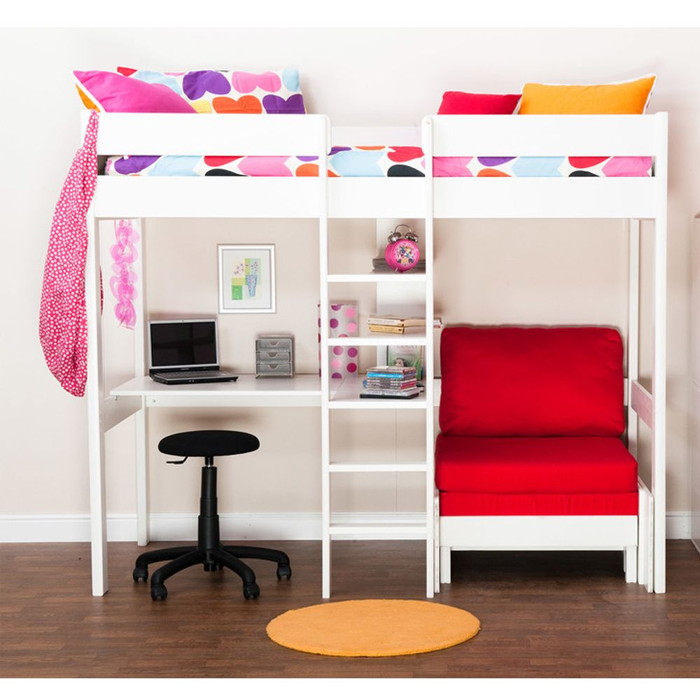 Loft bed with desk and pull out bed  Image result for mid sleeper with pull out bed  Headboards