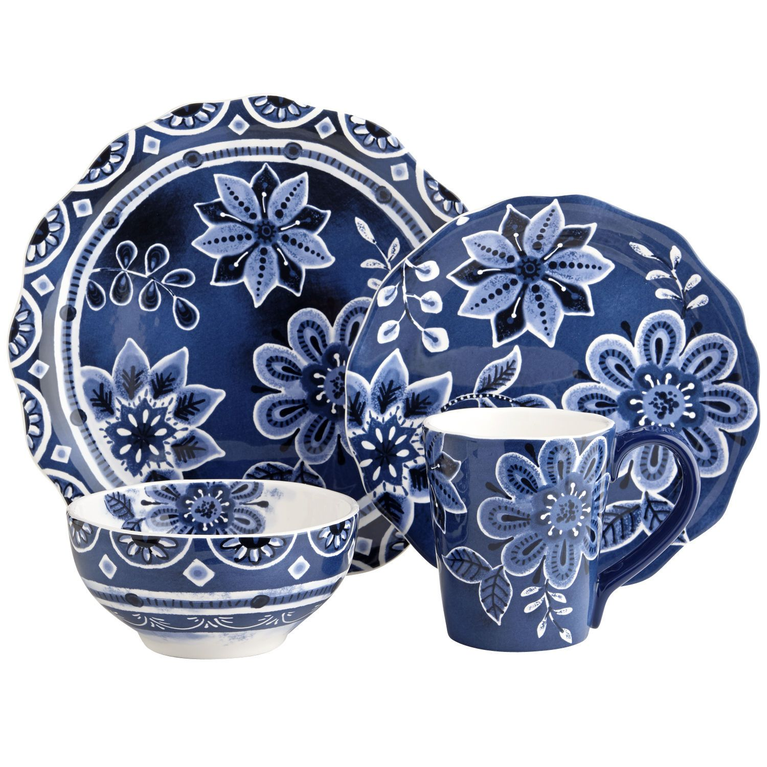 Indigo Floral Dinnerware | Beautiful things | Pinterest ...