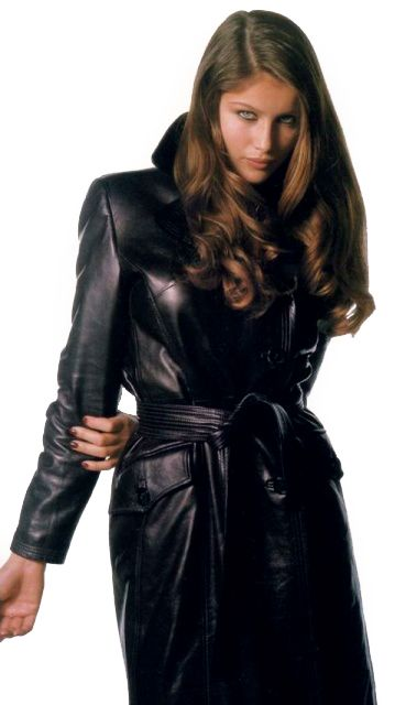 2c351bffc245 Belted black leather trench coat