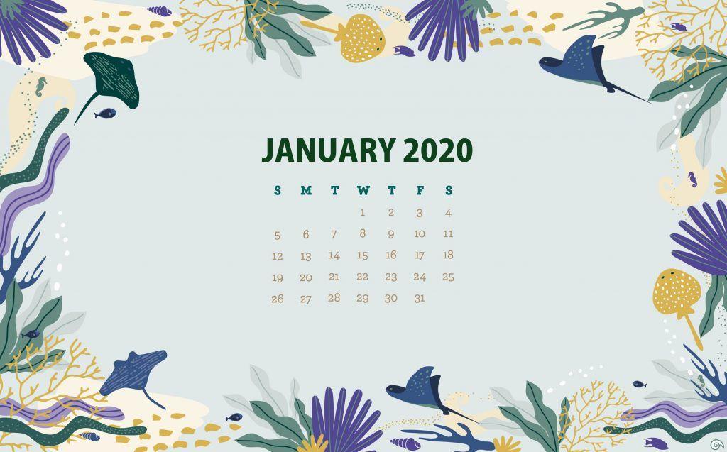 January 2020 HD Calendar Wallpaper Free printable