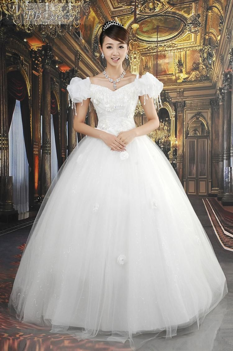Ball gown floorlength offtheshoulder vintage princess wedding