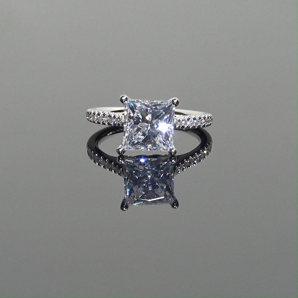 Princess Cut Ecksand Secret Heart Diamond Engagement Ring in Platinum