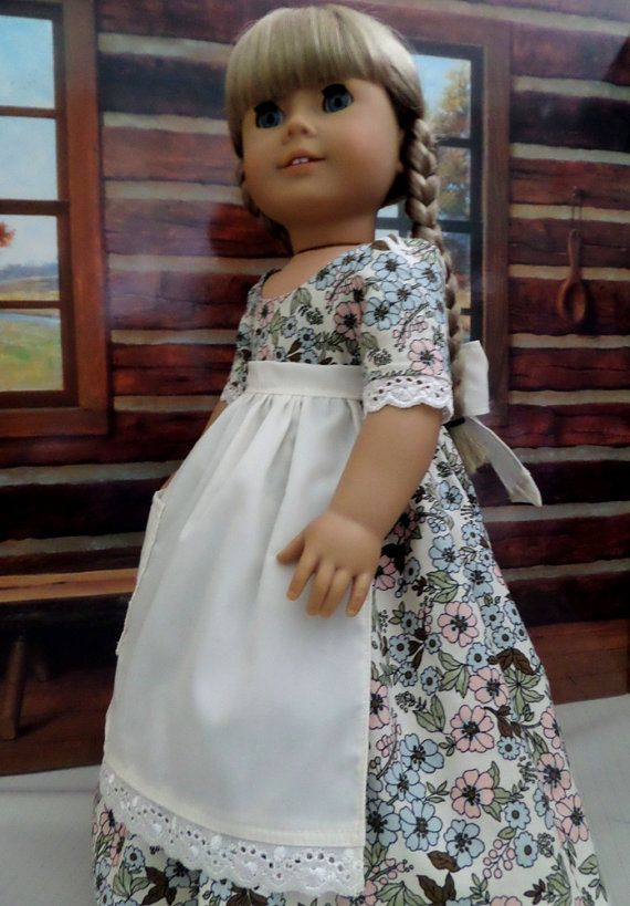 Colonial Doll Dress and Apron - Fits American Girl Doll, Madame Alexander, Our Generation - 1064C #colonialdolldresses