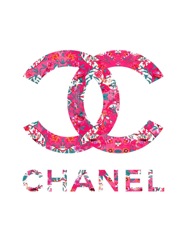 floral chanel logo fashion illustration art print by