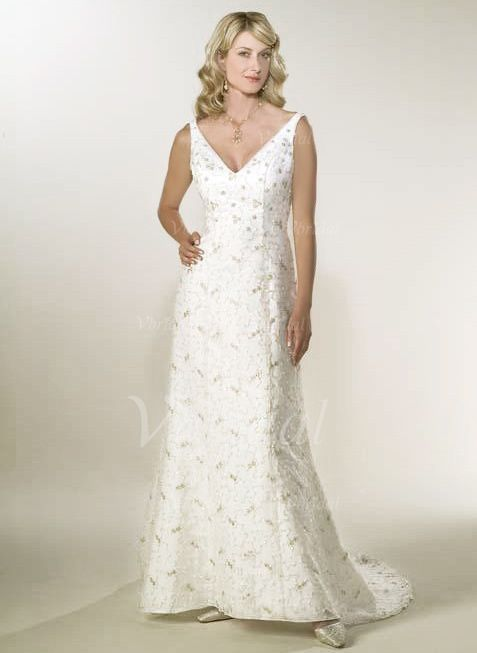 Wedding Dresses - $193.00 - A-Line/Princess V-neck Sweep Train Satin Lace Wedding Dress With Beading (00205002045)