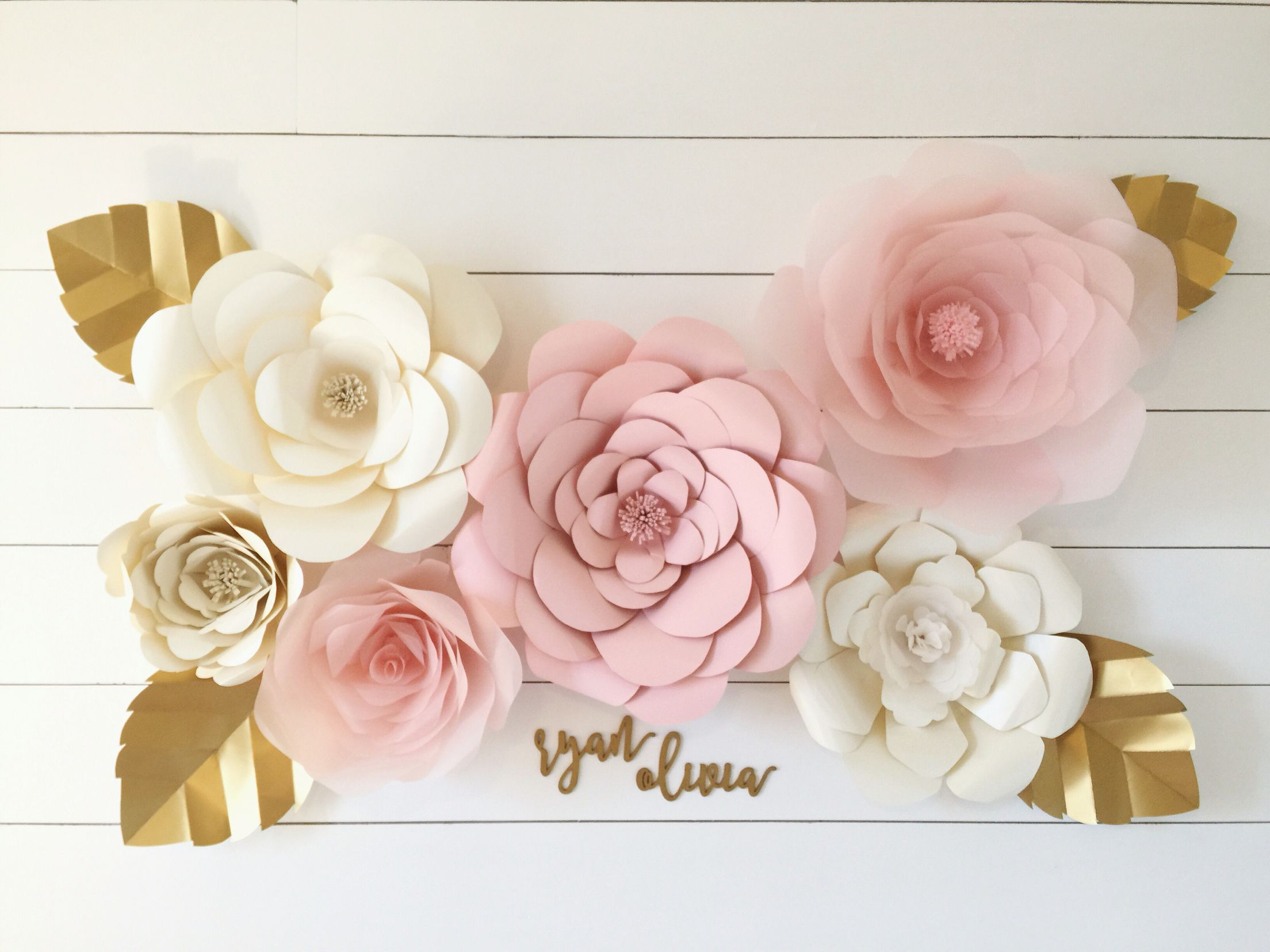 Pink And Gold Nursery Baby Girl Nursery Giant Paper Flowers White