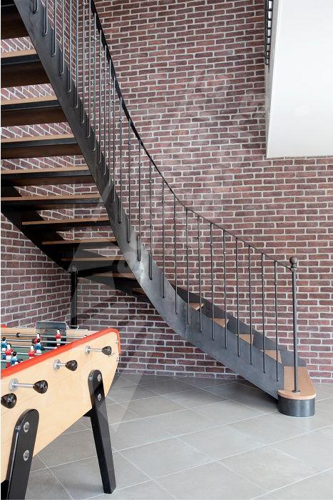 photo dt106 esca 39 droit 1 4 tournant interm diaire escalier int rieur balanc m tal et bois. Black Bedroom Furniture Sets. Home Design Ideas