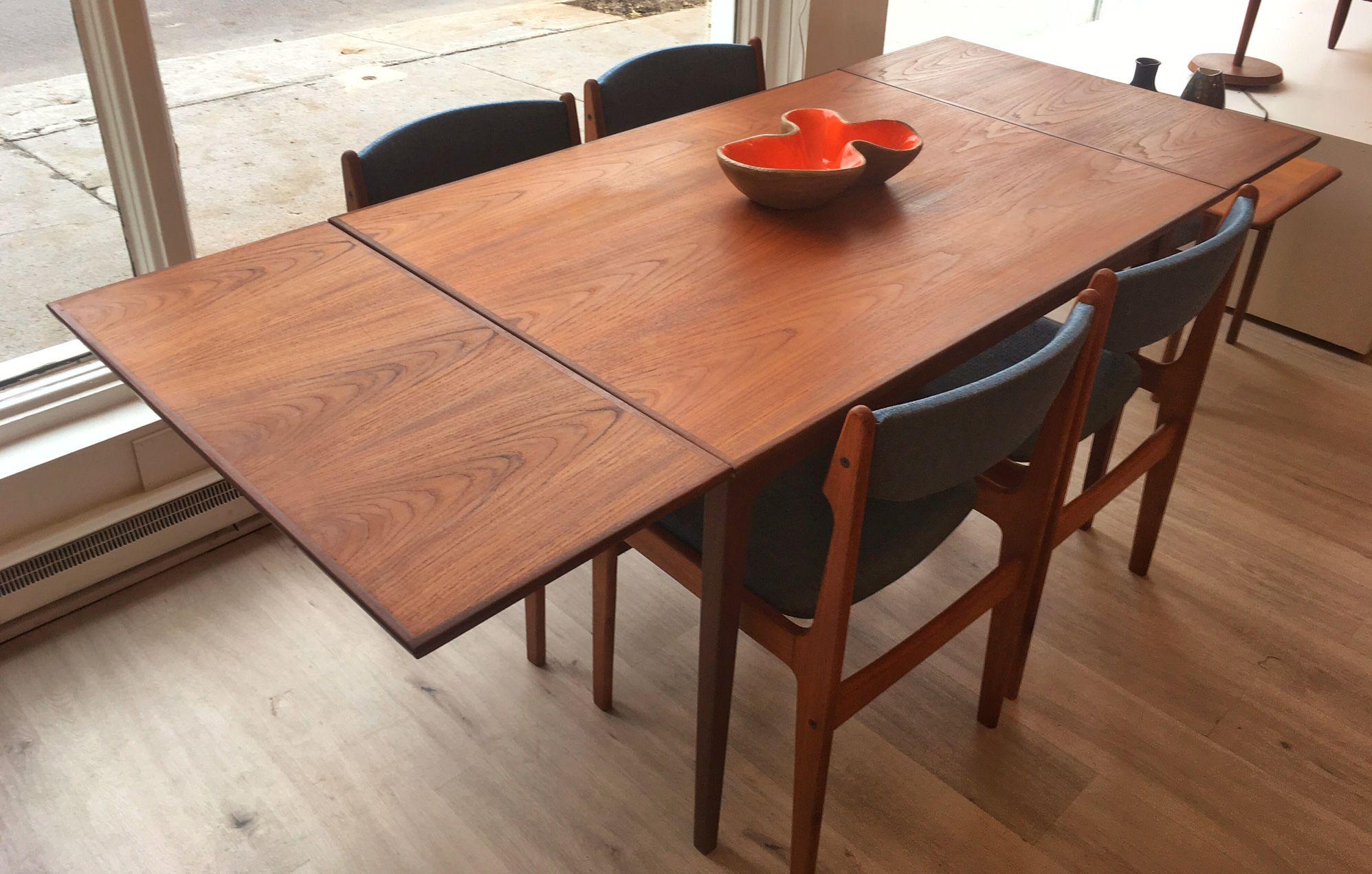 Table Papillon En Teck Rs Furniture Fabrique Au Canada Restaure 875 34 X 48 X 29 H Rallonges 16 Dining Table Table Home Decor