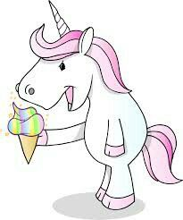 Njam the unicorn eat ice cream | Unicorn illustration ...