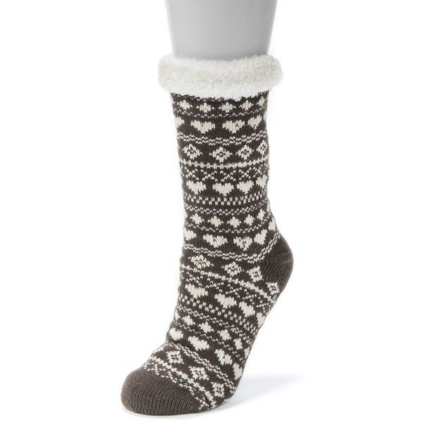Women's MUK LUKS Heart Cabin Crew Socks ($18) ❤ liked on Polyvore featuring intimates, hosiery, socks, dark brown, crew socks, crew length socks, crew cut socks, heart socks and muk luks socks