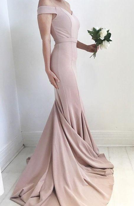 2dd76b84e75 Mermaid Off the Shoulder Court Train Blush Elastic Satin Prom Dress ...