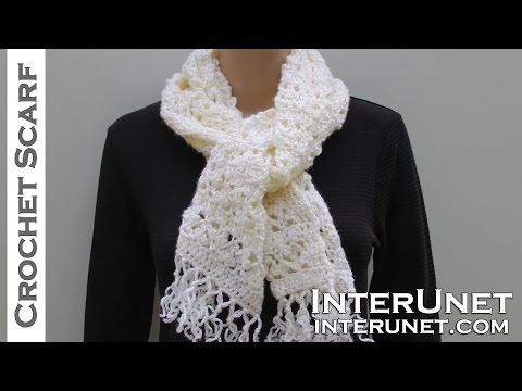 How to crochet a scarf - lace scarf crochet pattern - YouTube ...