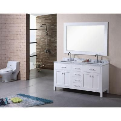 Adorna 61 Inch Double Sink Bathroom Vanity Set Marble Top In Pearl White  Finish, All Design Element Vanities Is Well Designed In The U.