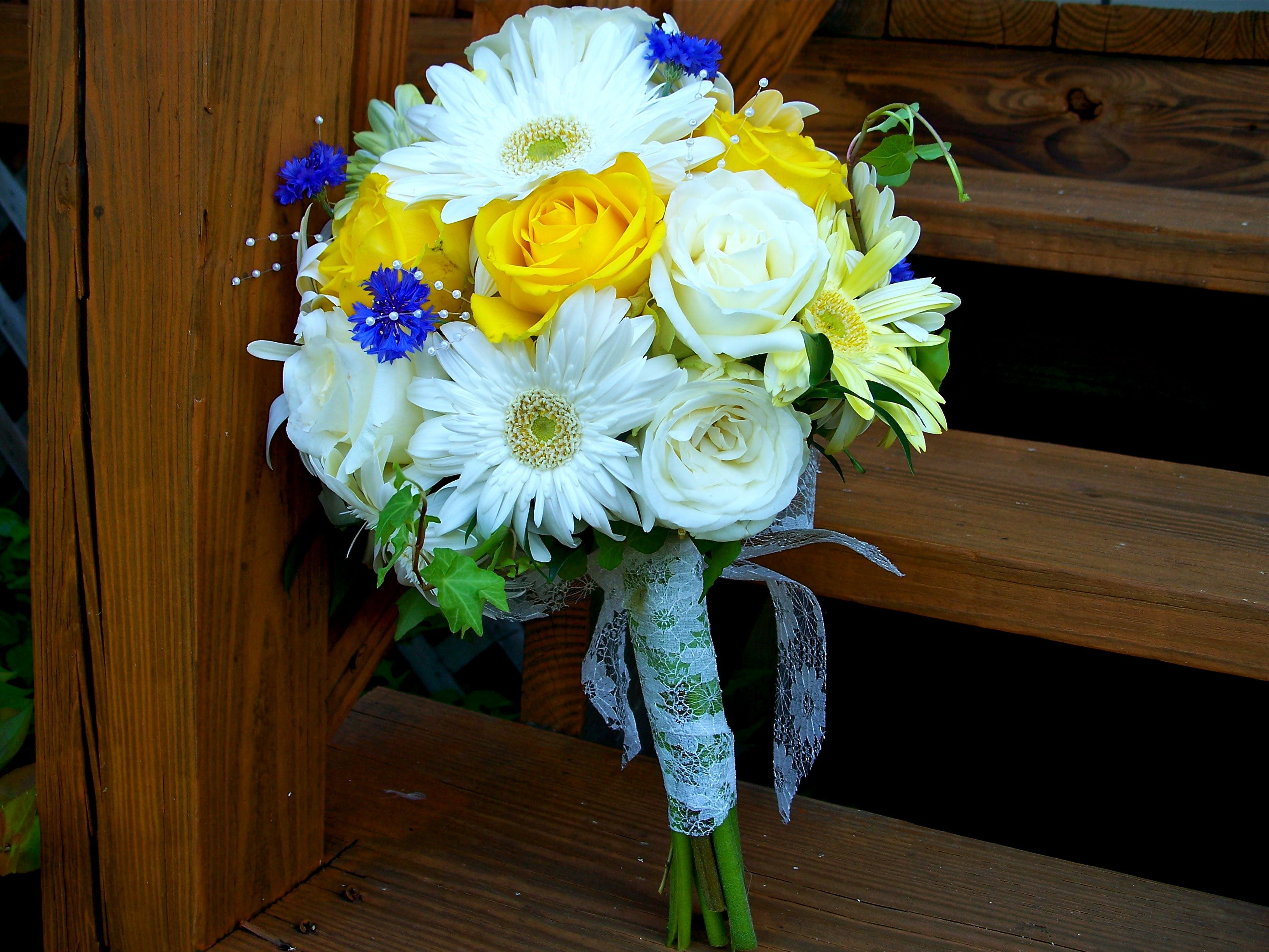 Wedding Bouquet Designed By Me White Gerberas Yellow And Cream
