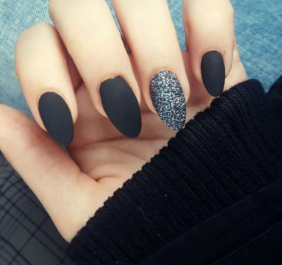 45 Awesome Black Almond Matte Nail Designs To Inspire You Black Nails With Glitter Matte Black Nails Black Acrylic Nails