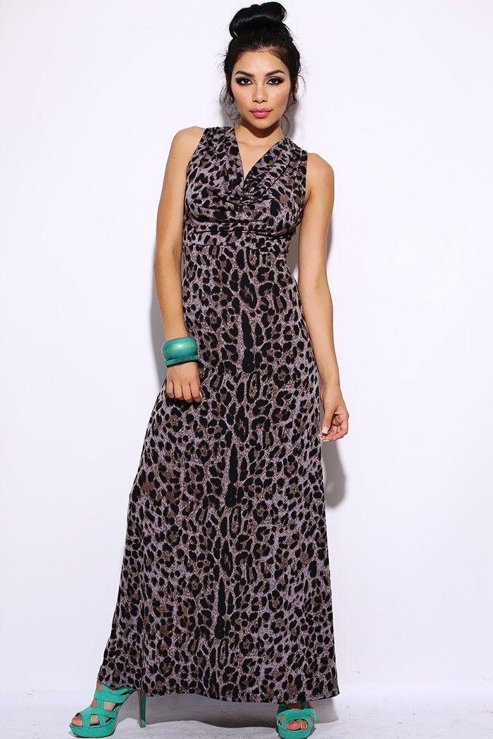 #clubwear21.com #dress #fashion Animal printed drape neck evening maxi dress-$33.00