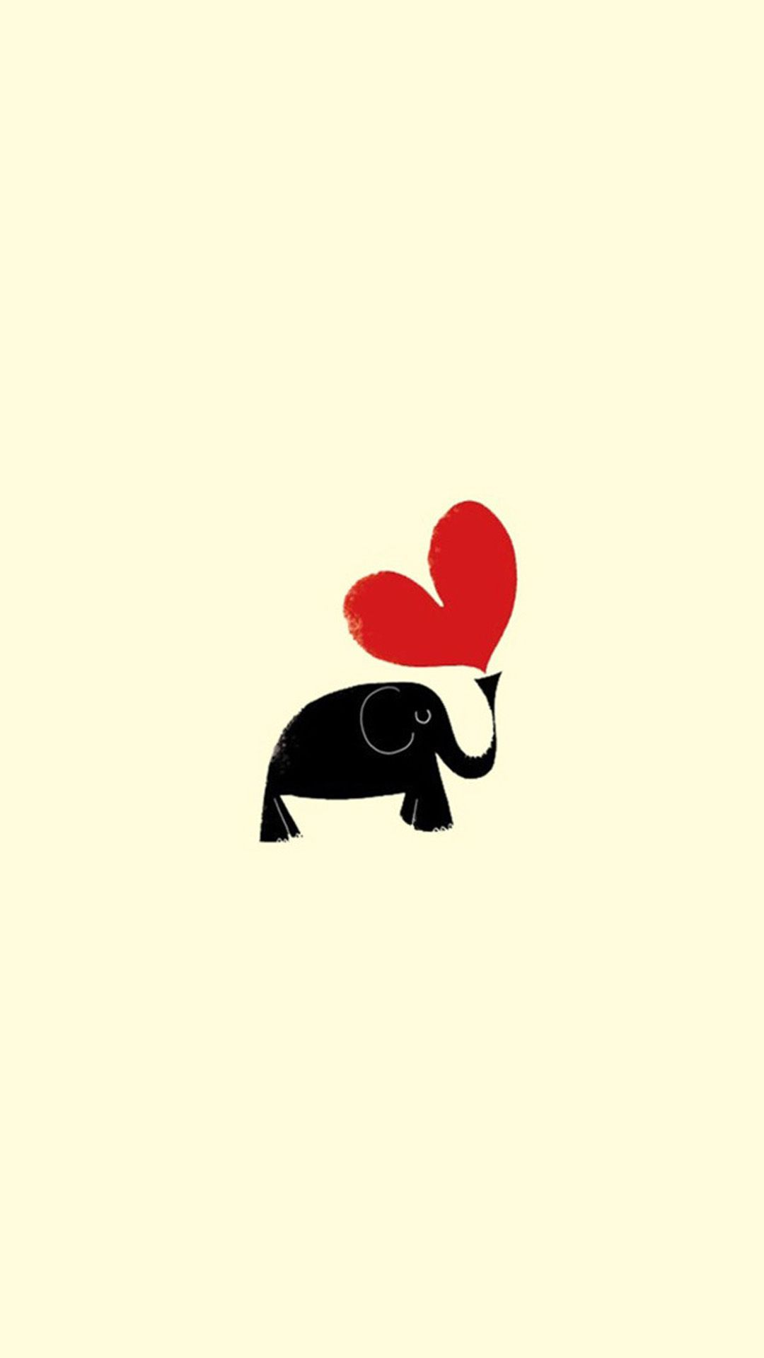 cute cartoon Love Wallpaper For Iphone : TAP AND GET THE FREE APP! Minimalistic Lovely Elephant Yellow Love cute Heart Unicolor Simple HD ...