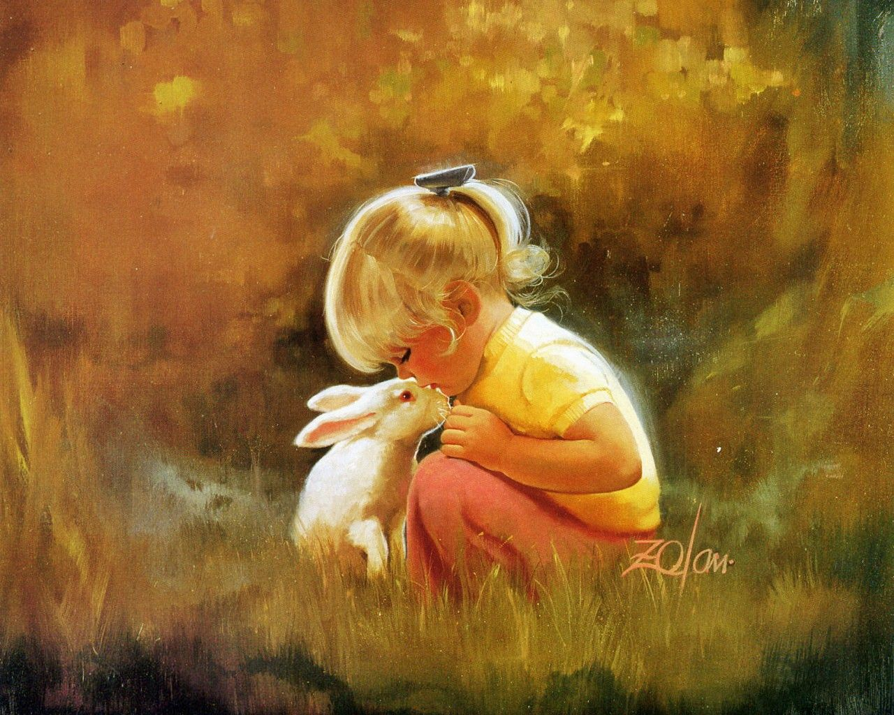 A Lovely Baby Girl And Her Obdient Pet Kissing Each Other The Scene Is Warm Cozy Oil Painting Wallpaper