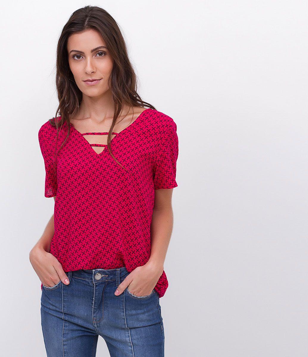 c108e8f3be912 Blusa feminina Manga curta Estampada Marca  Marfinno Tecido  viscose  Composição  100% viscose