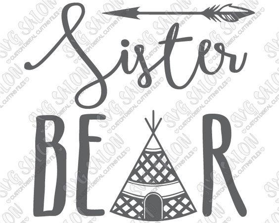 Sister Bear Boho Tipi Custom DIY Iron On Vinyl Girls Shirt Decal - Custom vinyl decals machine for shirts