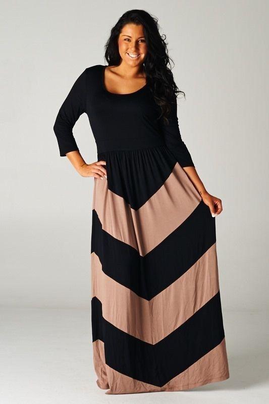 Details about Plus Size New Womens Chevron Black Mocha Brown Maxi ...