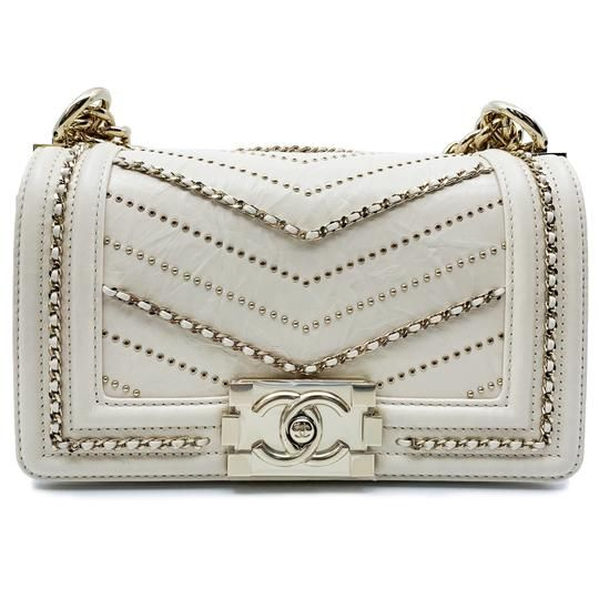 b7e8268855c0 Chanel Boy Small Crumpled Beige Calfskin Leather Ivory Chains Cross Body Bag  - Tradesy