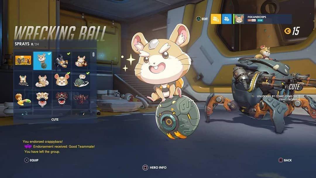 Strike Wreckingball Hammond New Hero Hamster Cute Cutespray Overwatch Achievement Trophy Psn Ps4 Gaming Console Games To Play Super Nintendo