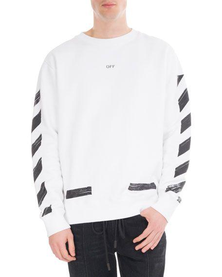1cf881f3da64 OFF-WHITE Brushed Diagonal Arrows Cotton Sweatshirt