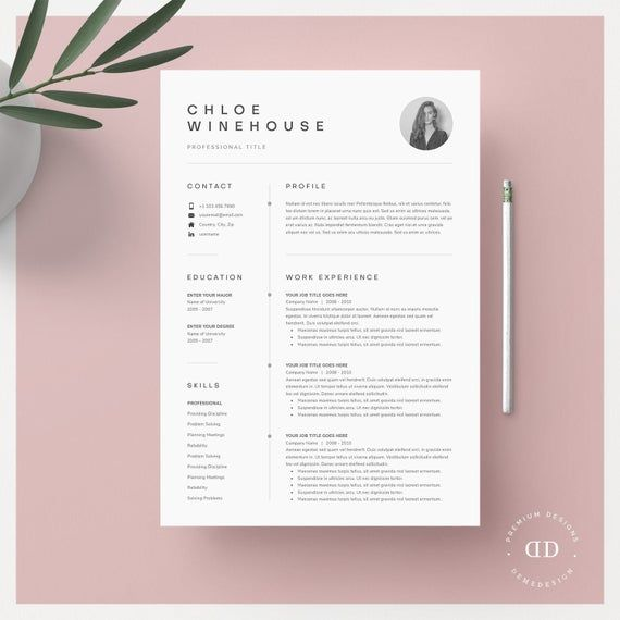 Resume Template, Resume Template Word, Resume With Picture, CV, CV Template, Resume with Cover Letter, Professional Resume Template, Resume