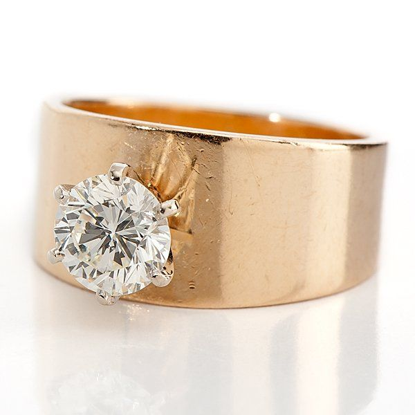 14 Karat Yellow Gold Wide Band Solitaire Diamond Ring : Lot 1