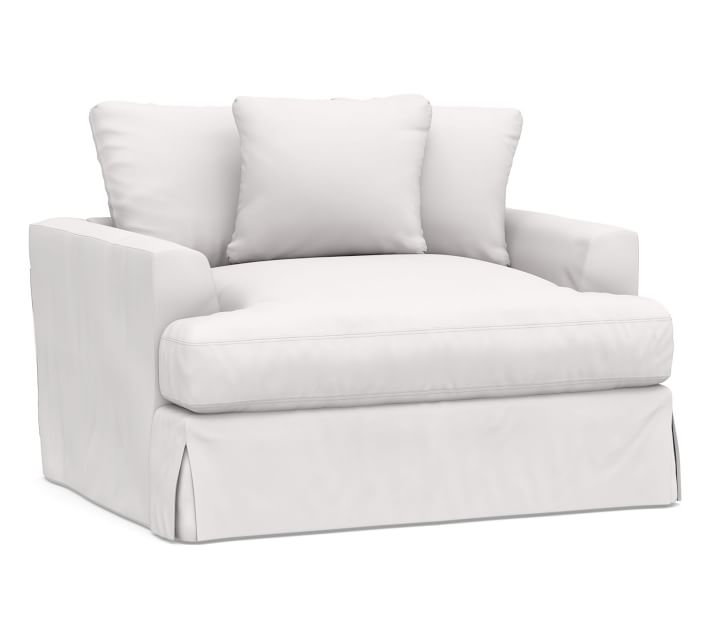 Sullivan Fin Arm Deep Seat Chair And A Half Slipcover Twill White Pottery Barn In 2020 Chair And A Half Slipcovers For Chairs Slipcovers