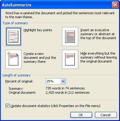 Creating an Executive Summary (Microsoft Word) The AutoSummarize