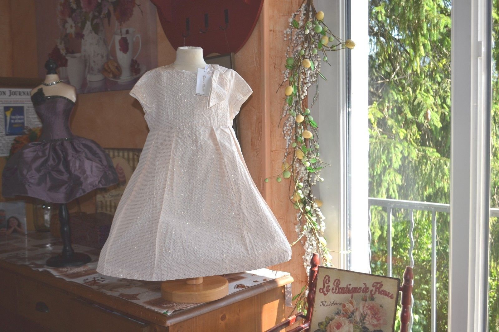 Robe de Mariage Cérémonie Fille avec Boléro Brodé Satin et Organza Pierre-cedric