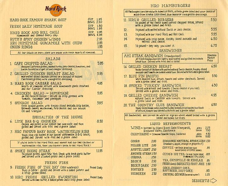 Hard Rock Cafe Menu, Los Angeles, 1987.