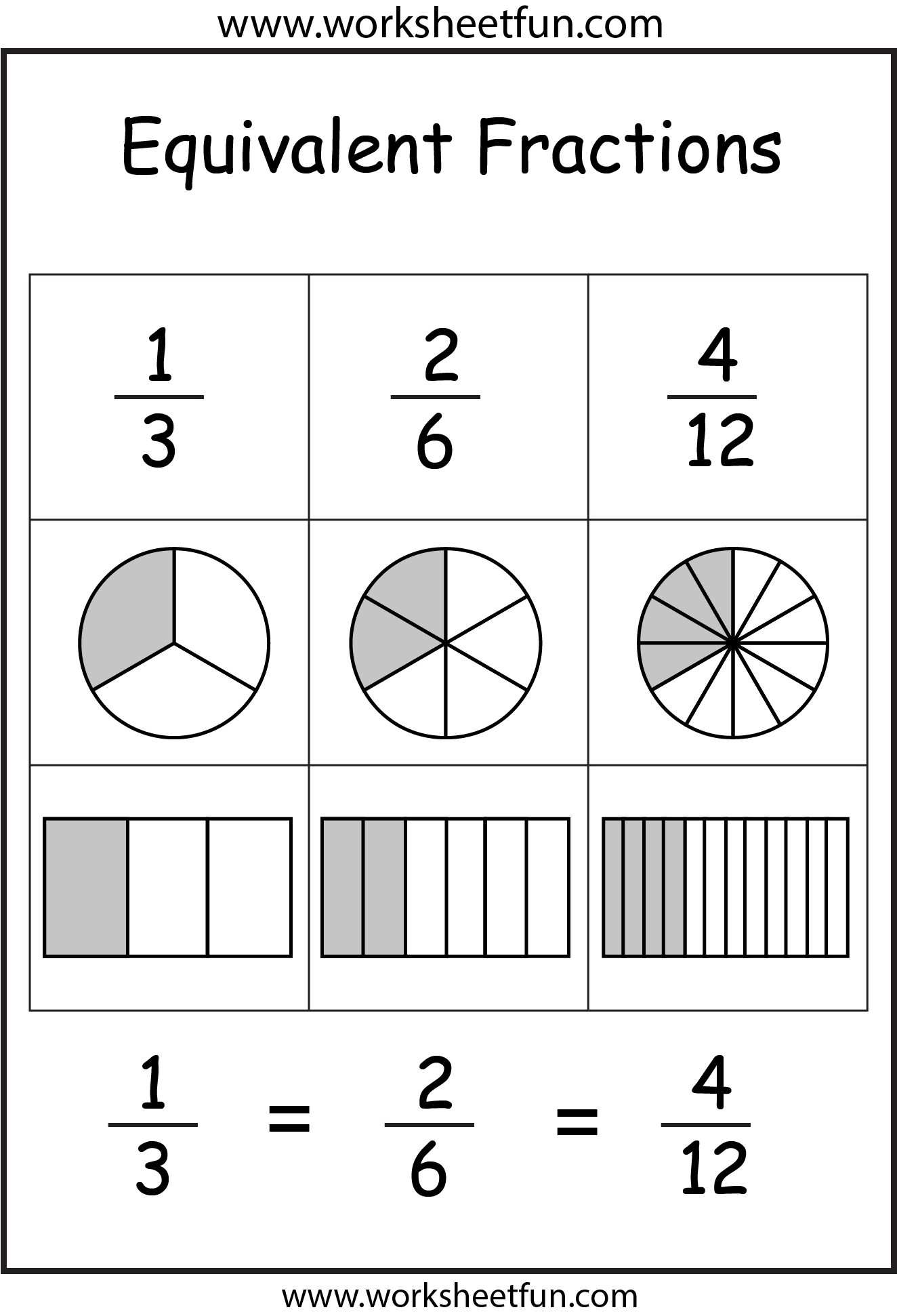 Equivalent fractions - 2 Worksheets | Fraction Worksheets ...