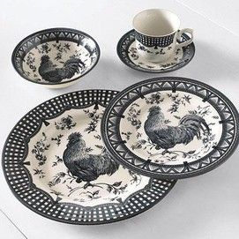 red black and white rooster dishes | Churchill® 20-piece Earthenware Dinnerware Set u0027Rooster Blacku0027 & red black and white rooster dishes | Churchill® 20-piece Earthenware ...