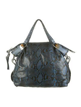 dde1797fd10 Get one of the hottest styles of the season! The Gucci Python Bamboo Bar  Blue Tote Bag is a top 10 member favorite on Tradesy.